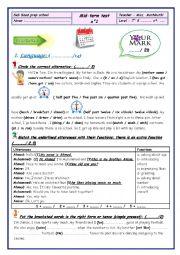 English Worksheet: mid term test n�1 7th form