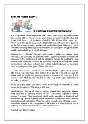 English worksheet: reading comprehension  4th formers