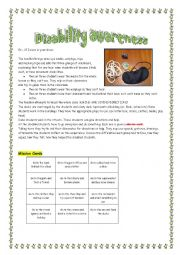english worksheets disability awareness lesson plan. Black Bedroom Furniture Sets. Home Design Ideas