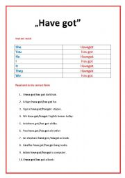 English worksheet: HAVE GOT VERB- SET OF EXERCISES FOR  YOUNG  STUDENTS