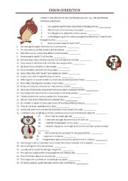 English Worksheet: ERROR CORRECTING with a key