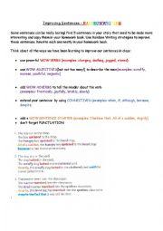 English Worksheet: Improving Sentences-Rainbow Writing