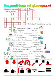 English Worksheet: Prepositions of Movement: 3 in 1 worksheet