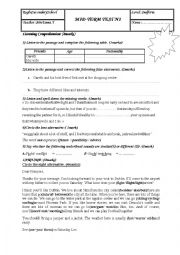 English Worksheet: mid -term test n1 for second form (tunisian students)