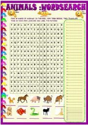 English Worksheet: Animals ; wordsearch with key