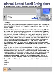Informal letter / E-mail giving news