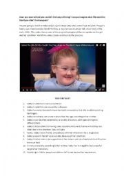 English Worksheet: The girl who couldn�t feel pain (youtube video + exercise)
