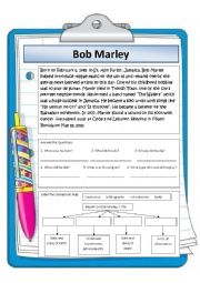 English Worksheet: Bob Marley short biography