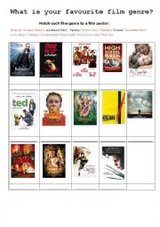 English Worksheet: What is your favourite film genre?