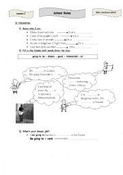 English Worksheet: lesson 2   school rules