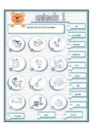 English Worksheet: animals (1/2 )