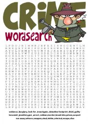 English Worksheet: Wordsearch Series 6-Crime wordsearch and other vocabulary exercises