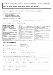 English Worksheet: Unit 4: life Issues, Lesson 2: Another Day In Paradise