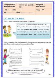 English Worksheet: mid term test n�1