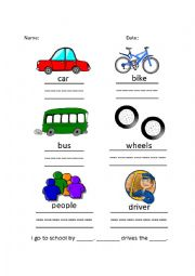 English Worksheet: The Wheels on the Bus Song & Worksheet