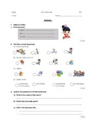 English Worksheet: Listening on sports (test or exercise)