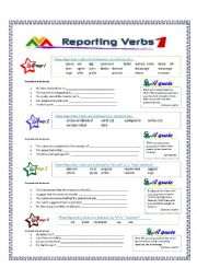 English Worksheet: Reporting Verbs - Part 1