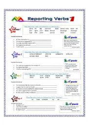 English Worksheet: Reporting Verbs - Part 1
