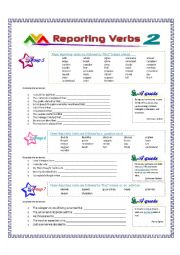 English Worksheet: Reporting Verbs - Part 2