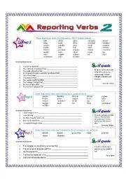 English Worksheet: Reporting Verbs - Part 2