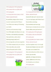 English Worksheet: Earth Day - Going Green Rap Song