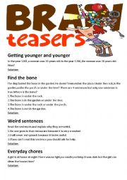 English Worksheet: Brain Teasers(with answer key)
