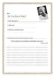 English Worksheet: Mahatma Gandhi