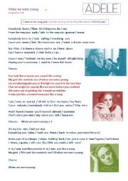 English Worksheet: SONG �When we were young� by ADELE