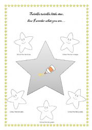 English Worksheet: Twinkle twinkle little star