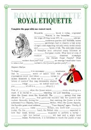 ROYAL ETIQUETTE GAP FILLING AND READING COMPREHENSION with a key