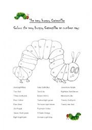 English Worksheet: Colouring the Very hungry Caterpillar