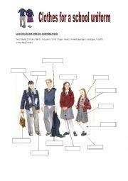 English Worksheet: Clothes for a school uniform