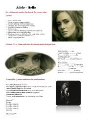 English Worksheet: Listening - ADELE - Hello