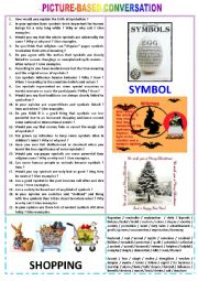 English Worksheet: Picture-based conversation : topic 99 - symbol vs shopping