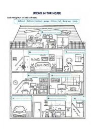 English Worksheet: rooms in a house