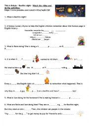 English Worksheet: Bonfire Night oral comprehension