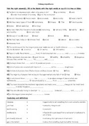 English Worksheet: a healthy pizza