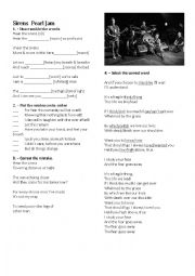 English Worksheet: Pearl Jam Sirens