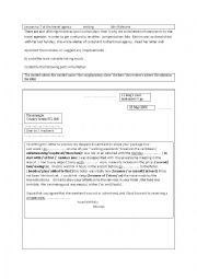 English Worksheet: ay the travel agency  a letter of complaint
