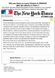English Worksheet: tribute to France after the terrorist attacks