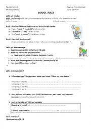 English Worksheet: SCHOOL RULES