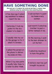 English Worksheet: Causative Form (have something done)
