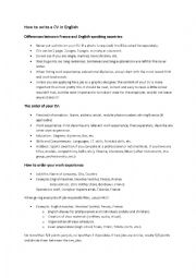 English Worksheet: How to write a CV in English