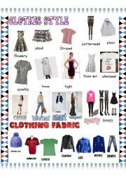 English Worksheet: Clothes styles pictionary