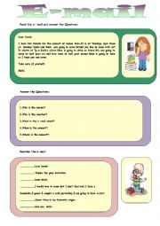English Worksheet: E-MAIL (PHONE CONVERSATION)