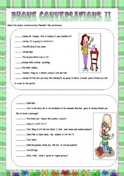 English Worksheet: PHONE CONVERSATION 2