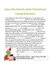 English Worksheet: The Grinch comprehension fill in the missing word