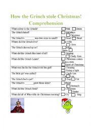 English Worksheet: The Grinch Comprehension