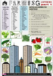 English Worksheet: Listening - URBAN FARMING part 1 - Comprehension questions + Link.