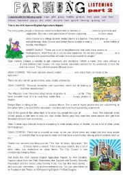 English Worksheet: Listening - URBAN FARMING part 2 - Fill in the gap Ex + Link + script.